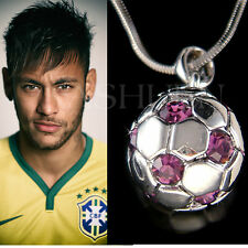 w Swarovski Crystal Purple 3D Football Soccer Ball Charm Necklace Unisex Jewelry