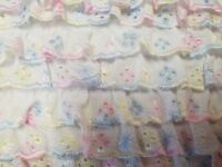 Lace Broderie Anglaise Gathered or Flat Pastel Rainbow Colours Widths 25 & 35mm