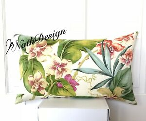 Outdoor/Indoor Tommy Bahama Tropical Palm and Flower Cushion/Pillow Cover