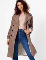 MARKS AND SPENCER PER UNA WOOL BLEND CHECKED DOUBLE BREASTED COAT SIZE 24 BNWT