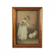 Dolls House Girl and Cat Picture Painting in Wooden Frame Miniature Accessory
