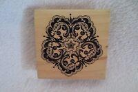 Inkadinkado Stamp Flourish Flower Wood Mounted Large Rubber Stamp New