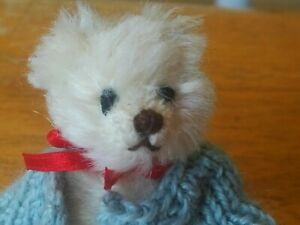 Miniature white Mohair Gund Theo Teddy bear with little sweater 3in EUC