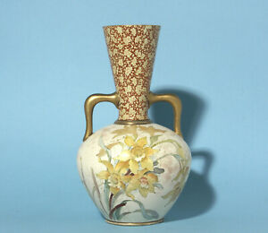 Antique Doulton Burslem Floral Double handled Vase - 19th Century