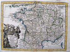 bi8-10 Gravure carte 18e siècle France divisée en 37 gouvernements militaires