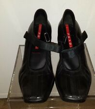 PRADA Women 1991 Ankle Strap Shoes Heels Size 6 1/2 Black Leather made in Italy