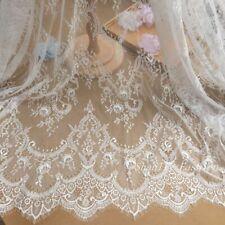 Ivory Chantilly French Eyelash Lace Fabric DIY Wedding Bridal Dress 59''/ Y Veil