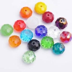 10 Stück 14x10mm Rondelle Facettiert Kristall Glas Lose Perlen 70+ Farben