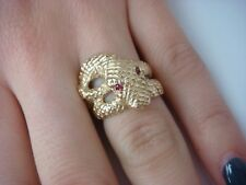 "14K YELLOW GOLD HEAVY 14.6 GRAMS ""SNAKE"" LADIES RING WITH RUBY EYES"
