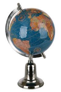 Nobler Globus aus Metall inklusive Fuß Höhe 30 cm Durchmesser 15 cm