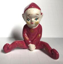 Vintage Ceramic Pixie Elf Sprite Sitting Figurine Japan Signed Mk Mythical