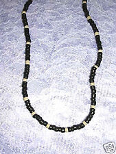 """NEW BLACK & NATURAL WHITE COLOR WOODEN COCO BEAD 18"""" SURF STYLE BEACH NECKLACE"""