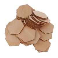 50 Holz Hexagon Verzierungen Scheiben Holzscheiben Für DIY Handwerk 50 mm