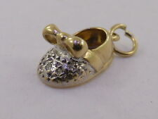 9ct Solid Yellow & White Gold & Diamond Babies Baby Bootie Shoe Charm Pendant