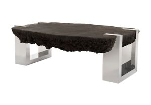 """47"""" L Cocktail Coffee Table Resin Composite Inset Stainless Steel Base 1114"""