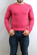 Fred Perry Fuchsia SLIM Wool Made in Italy Knit Sweater jumper Mens 38'' 97 cm M