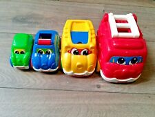 4 TOY STACKING VEHICLES - FIT INSIDE EACH OTHER BLUE/RED/YELLOW/GREEN