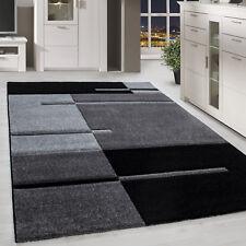 Teppich Modern Designer Konturschnitt Linien Kariert Optik Schwarz Grau Farben
