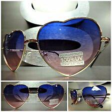 VINTAGE 80's RETRO Style HEART SHAPED SUN GLASSES Gold Frame Purple & Pink Lens