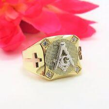 Masonic 14 K Tri Color Gold .16 TCW Dia. Square & Compass Cross Ring Size 10 NIB