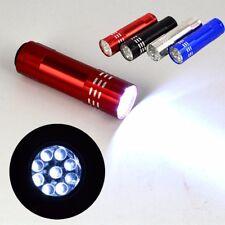 MINI UV Glue Flashlight Aluminium 9 LEDs Torch Ultra Bright Night Lamp Light