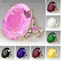 Wholesale 925 Silver Women Oval Cut Gemstone Birthstone Wedding Engagement Ring