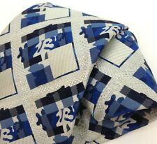Vintage Necktie Wide Neck Tie Kipper Blue White Abstract Geometric Jacquard Mens