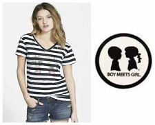 BOY MEETS GIRL TROPIC LOGO TEE BLACK WHITE STRIPE COTTON  T-SHIRT   Sz S NEW $39