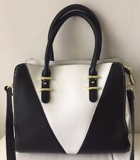 Mini Steve Madden B Lala Black White  Satchel Tote Handbag Tote Crossbody NEW***