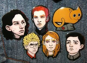 Star Wars Kylo Ren General Hux KYLUX Mitaka Millicent Matt SNL Techie Pin Badge