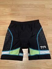 TYR Multi-Sport Cycling Run Swim Triathlon Padded Shorts Women's Medium Black