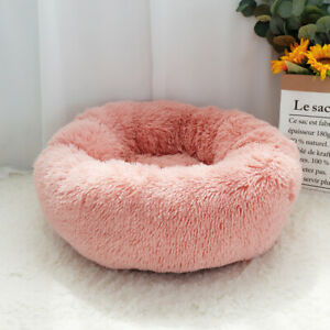 Cat Dog Bed Plush Self Warming Cat Calming Bed with Anti Slip Faux Fur Bottom