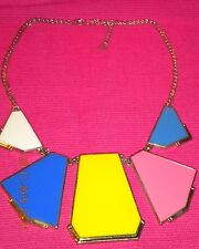 Women's Fashion Statement Necklace. Silver Toned Chain With Geometric Shapes.