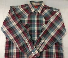ELY PLAINS Plaid Long Sleeve Western Mens Shirt Extra Large XL Pearl Snaps