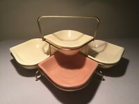 Vintage California Pottery Relish/Dip Dishes w/Caddy MCM- U.S.A. T-19