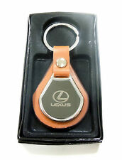 NEW LEXUS KEYCHAIN ROUND METAL LEATHER BADGE KEY FOB KEYRING CAR + GIFT BOX