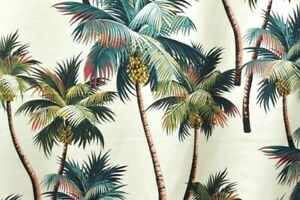 10 (9+1) YDS Tropical Hawaiian Cotton Barkcloth Upholstery FABRIC ~Palm Trees~