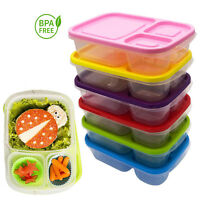 Plastic Lunch Box Food Container Set Bento Lunch Boxes With 3-Compartment
