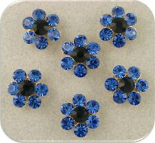 2 Hole Beads Crystal Flowers with Sapphire Swarovski Elements ~ Sliders QTY 6