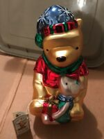 """10 1/2"""" GLASS WINNIE THE POOH FIGURINE WITH TAG! DISNEY MIDWEST OF CANNON FALLS"""