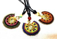 New Thai Handmade Necklace Pendants Waxed Cords Beads Brass Stone Wholesale 3Pcs