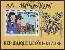 ELFENBEINKÜSTE 1981 Hochzeit von Prinz Charles und Diana Spencer Block ABART O