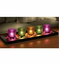 BNIB 5 PIECE TEALIGHT CANDLE SET WOODEN TRAY