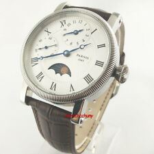 42mm PARNIS white dial Moon Phase GMT 6497 hand winding movement mens watch 54B
