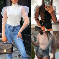 Women Ladies Summer Mesh Puff Sleeve Crop Tops Casual Solid T-shirts Blouse Top
