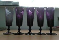 More details for glasses rare vintage purple amethyst glass set of 5 with engraved flower design.