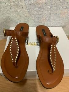 Bally NURAXI Brown Leather T Bar Sandals Size UK 5.5 (38.5)