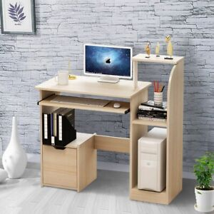 Small Computer Desk Writing Study PC Table Home Office With Shelves Workstation