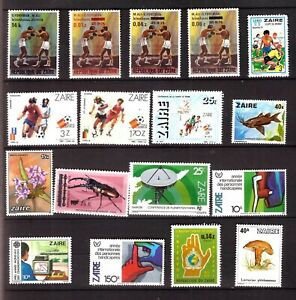 ZY1982 ZAIRE 17T NEUFS :Sport,boxe,football,Handicapés,fleurs,champignons