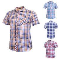 Mens Casual Short Sleeve Plaid Round Hemline Button Down Shirt B98B